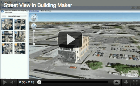 Street view in Building maker, youtube