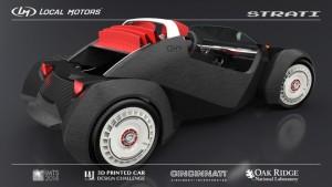 Der Strati kommt, bis auf Motor und Windschutzscheibe. komplett aus dem 3D-Drucker. Foto: Local Motors