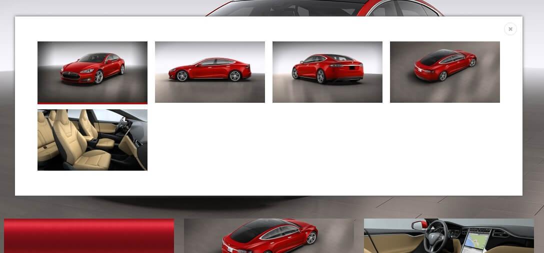 Perspektiven-Wechsel / 3D-Konfigurator Tesla