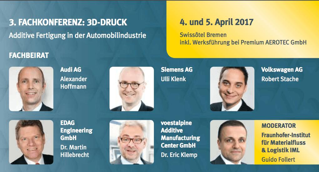 3. Internationalen Fachkonferenz: 3D-Druck – Additive Fertigung in der Automobilindustrie