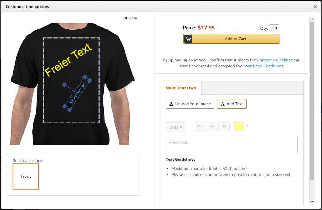 Eingabefenster für Text- und Bildgestaltung eines T-Shirts